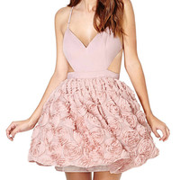 Pink Chiffon Flower Backless Cut Out Mini Skater Dress