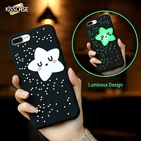 Glow In The Dark Twinkle Star Black Phone Case Cover For iPhone 6 S 7 Plus