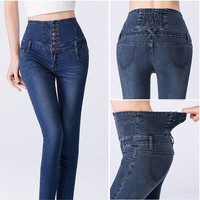 Denim High-Waisted Stretchable Button Skinny Pants