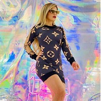 LV Louis Vuitton Fashion Long Sleeve Bodycon Dress