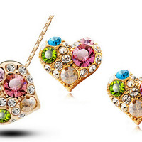 18K Gold Plated Multicolor Heart Crystal Necklace Earrings Jewelry Set Valentine's Day Gift
