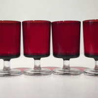 Set of 4 Luminarc Ruby Stemmed Cordial Glasses, 4 Vintage Ruby Red French Luminarc Cordial Wine Glasses, Vintage Ruby Red Glass Goblets