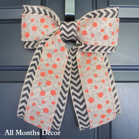 Orange Polka Dot over Black Chevron Burlap Bow, Wreath Change Out, Fall Autumn Halloween Thanksgiving Floral, Rustic Shabby Chic
