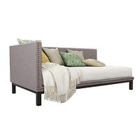 Grey Linen Fabric Upholstered Mid-Century Modern Daybed