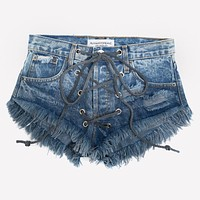 Rodeo Lace Up Gray Ombre Babe Shorts
