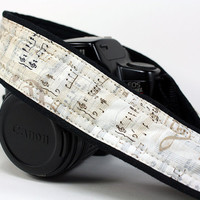 dSLR Camera Strap, Sheet Music, Notes, Music, Vintage, SLR