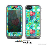 The Teal Vintage Vector Heart Buttons Skin for the Apple iPhone 5c LifeProof Case