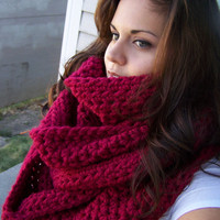 Oversized Infinity Scarf- Cranberry Red