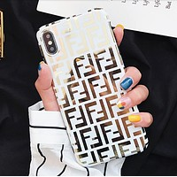 Fendi Fashion New Letter Print Women Men Phone Case Protective Cover
