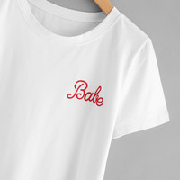 Letter Embroidered T-shirt