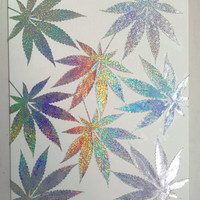 Iridescent Leaf Cannabis Art | Marijuana Art | Wall Art | Weed Art
