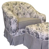 Angel Song 201921127DOWN Toile Black Adult Park Ave Adult Glider Rocker w/ Plush Down Cushion