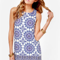 Flourishing Reflections Ivory and Blue Floral Print Dress
