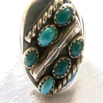 Vintage Navajo Men's Ring, Turquoise and Sterling Silver, Size 10.5, Old Pawn, Native American Jewelry