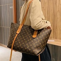 LV Louis Vuitton Classic Tote Bucket Bag Fashion Check Letter Print Ladies Shoulder Bag