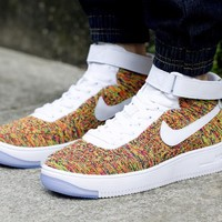 Nike Air Force 1 Flyknit Mid-High 817420-604 Orange For Women Men Sneakers