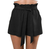 Fashionable Bow Short Loose Pant Ruffle With Belt