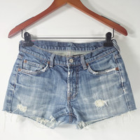 LOW RISE Denim Shorts - 7 For All Mandkind Jean Shorts - Distressed - SIZE 29