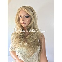 Dark blond waves' human hair Multi Parting lace front wig 20'