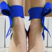 Blue Bow Ankle Wrap Stiletto High Heels