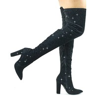 Madam11 Glitter Stretchy Chunky Block Heel Thigh High OTK, Over-The-Knee Pointy Toe Boot