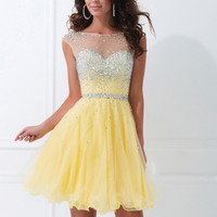 Yellow Short Illusion Neck Sequin Homecoming Dresses