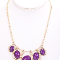 Purple Faceted Beaded High Polish Metal Necklace