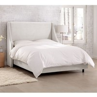 Skyline Furniture Velvet White Swoop Arm Wingback Bed | Overstock.com Shopping - The Best Deals on Beds