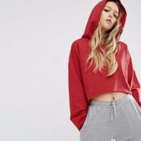 Fashion Autumn Loose Hooded long sleeve Crop-top Solid Sweatshirt a13260