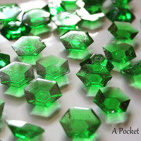125 MINECRAFT Emeralds EDIBLE Green Sugar Jewels Cupcake Toppers Cake Decor Gifts 6.5 oz