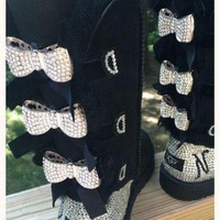 DCCK8X2 Custom Order!!! Tall black Bailey Bow Ugg boots, Blinged with Bows. Swarovski monogram