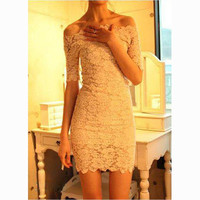 SIMPLE - Lace Sexy Off Shoulder Nightclub One Piece Dress a10713