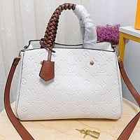 Inseva Louis vuitton LV Fashion new monogram leather shopping leisure shoulder bag crossbody bag handbag White
