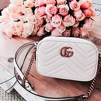 GUCCI Small Square Bag Classic Wave pattern Shopping Leather Shoulder Bag Crossbod White