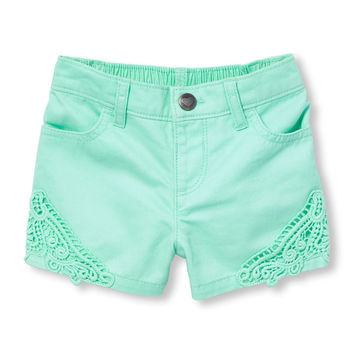 Toddler Girls Crochet Trim Denim Shorts | The Children's Place