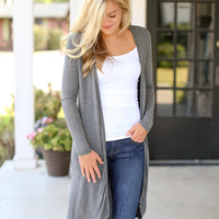 At Last Long Cardigan - Grey