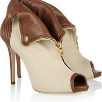 Alexander McQueen Two-tone twill and leather ankle boots – 50% at THE OUTNET.COM
