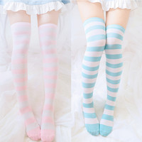Soft Sister Strip Knitted Stockings from HIMI'Store