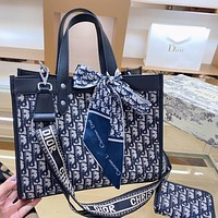 Dior new womens jacquard embroidery shopping bag shoulder bag two-piece suit