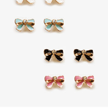 Lacquered Bow Stud Set | FOREVER 21 - 1038085235