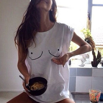 2016 Fashion Women Clothing European Style Summer Comfortable Street Hand-painted Funny Couple T-shirt Casual Print T Shirt