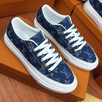 Louis Vuitton LV New casual couple canvas print sneakers Shoes