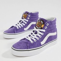 Vans Exclusive Purple Corduroy Sk8-Hi Sneakers at asos.com