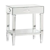 Jasmine Glass 1 Drawer Side Table