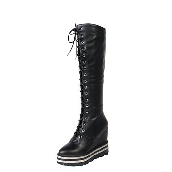 Lace Up Platform Wedge Heel Tall Boots Winter Shoes for Woman 7046