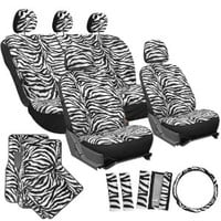 OxGord 21pc Set of Zebra Print Car Seat Covers w/Deluxe Velour Animal Carpet Floor Mats, Steering Wheel Cover & Shoulder Pads - Airbag Compatible - Front Low Back Buckets - 50/50 or 60/40 Rear Split Bench - Universal Fit for Cars, Truck, SUV, or Van, Snow