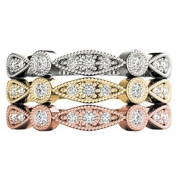 Stackables 3/4 Eternity Tri-Tone Gold Milgrain Round & Marquise Bezel-Set Diamonds 3-Band Set Selectables
