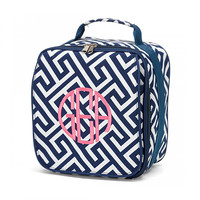 Monogrammed Lunchbox Lunchbag Navy Greek Key Insulated Cooler School Personalized