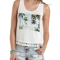 Ivory Tassel-Trim Anchor Graphic Tank Top by Charlotte Russe