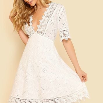 Guipure Lace Trim Schiffy Plunging Flare Dress